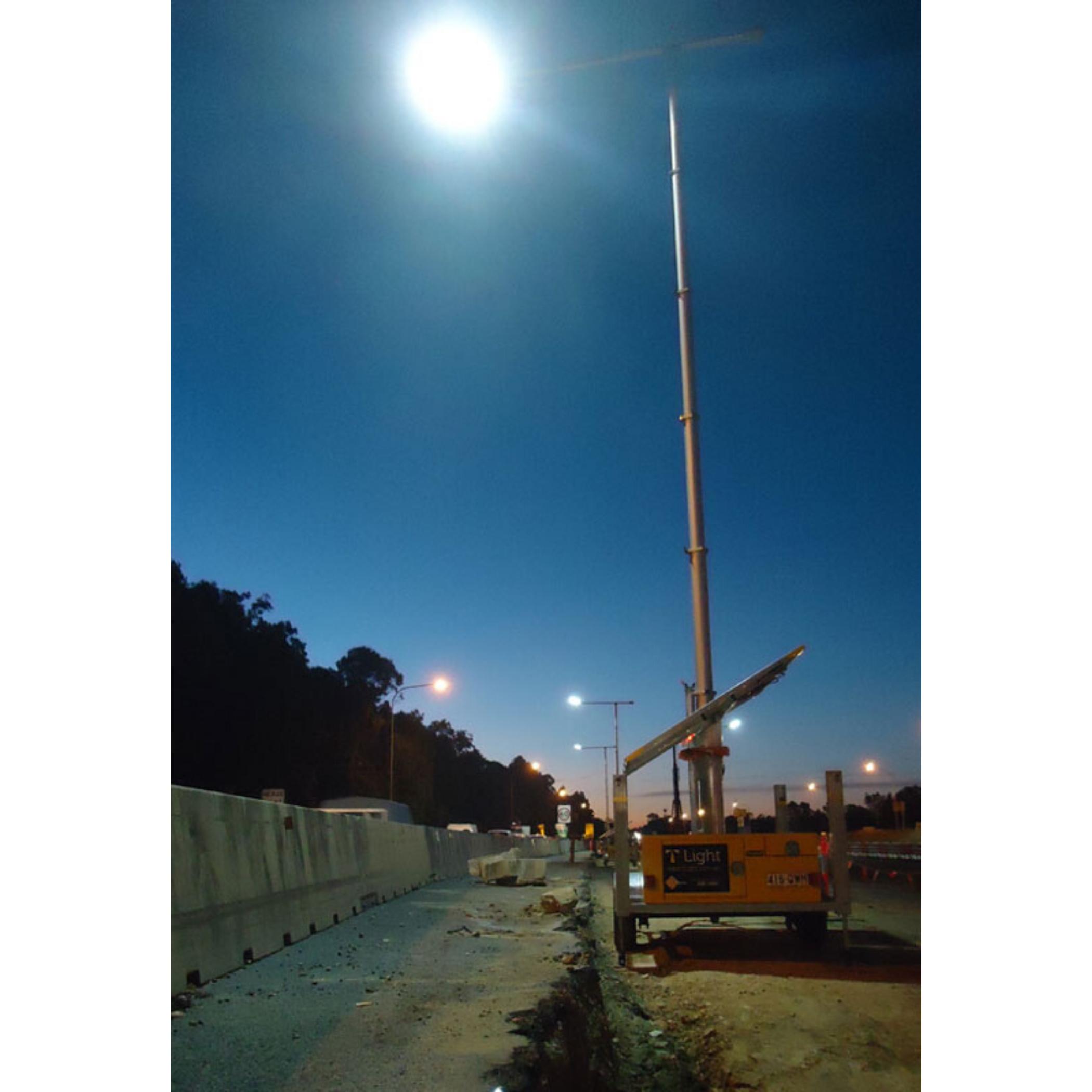 T- Light set up at a construction site